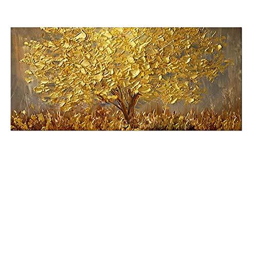 MAOYYM1 Ölgemälde Auf Leinwand handgemalt Gold Baum Messer Ölgemälde Handgemalte Große Palette 3D Gemälde Für Wohnzimmer Moderne Abstrakte Wandkunst Bilder (Kein Rahmen, Nur Leinwand) -