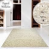 Hand-Web-Teppich | Reine Schur-Wolle im Skandinavischen Design |Für Wohnzimmer Esszimmer Schlafzimmer Flur Kinderzimmer | Grau Beige (Düne - 130 x 190 cm)