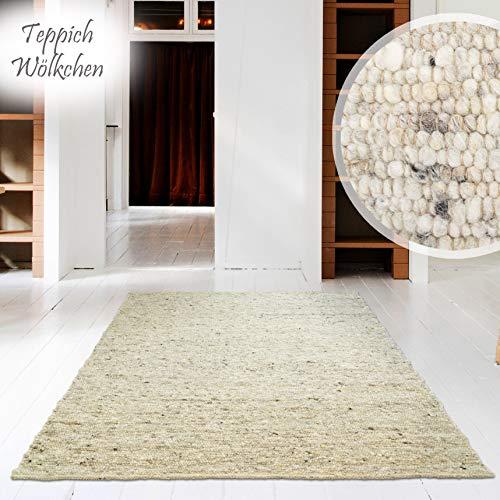 Handweb-Teppich | Reine Schur-Wolle im Skandinavischen Design | Wohnzimmer Esszimmer Schlafzimmer Flur Läufer | Düne - Muster 7 x 7 cm -