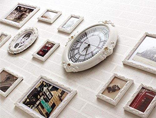 X&L Mediterrane Europäische klassische Wand HomeLiving Kreativraum Schlafzimmer Dekoration Handarbeit Holz weiß Foto (mit Uhren und Uhren) , 15 london time - 3