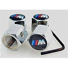 4tapones de válvula con antirrobo Logo BMW Serie M.