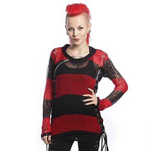 Heart less donna fine pull over con lacci - corda Miss Krueger stronzetto rosso Pullover nero/rosso Medium