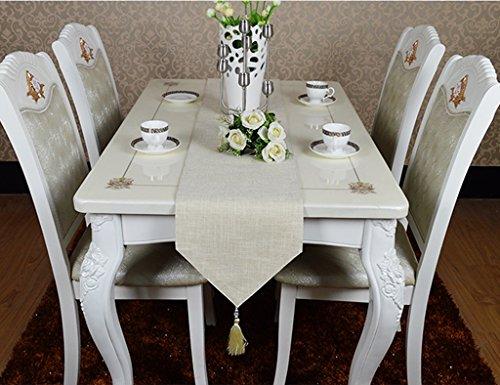 QiangZi Table Runners Solide Couleur Lin Salon Cuisine Bureau De Mariage Party Décoration Gland Nappe V Type Nappe (30 * 240CM) (Couleur : Blanc, Taille : 30 * 180cm)