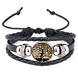 DALARAN Bracelets en cuir noir réglable pour homme Bracelet de l'arbre de vie multicouche...