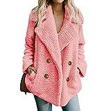 ESAILQ Damen Jacke Winter Warmer Parka Outwear Mantel Beiläufig Oberbekleidung(XXX-Large,Rosa)