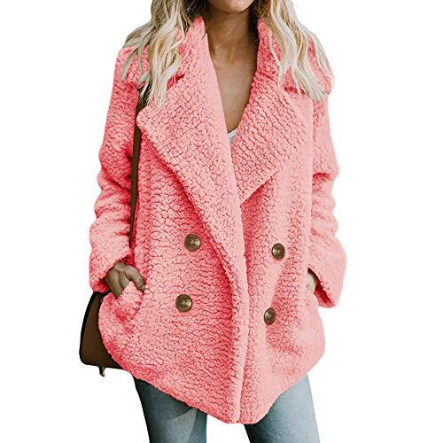 CUTUDE Jacke Damen, Frauen Beiläufig Parka Mantel Warm Winter Überzieher Jacken Coat Outerwear (Rosa, XXXL)
