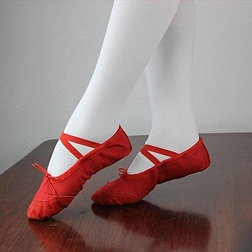 Eastlion Soft Canvas Ballett Tanz flache Schuhe Tanzen Hausschuhe Gymnastik Schuhe Ballett Wohnungen für Frauen und Mädchen Praxis in EUR22-40 Weiß