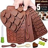 Silikonformen für Schokoladen, Pralinenformen, Süßigkeitenformen - und Süßigkeitenherstellung, verschiedene Designs, antihaftbeschichtet, BPA-frei (ABC's, Numbers, Spoons and Hearts - 4 Trays)