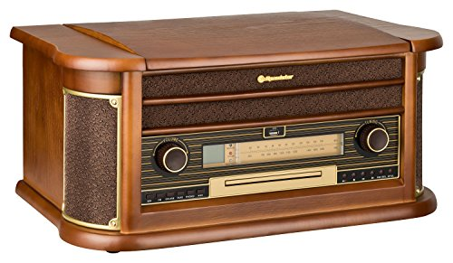 Roadstar HIF-1990 Retro Stereo-Anlage mit Plattenspieler, Kassette, CD-Player und Radio (UKW / MW, CD / MP3, USB, beleuchtetes LCD-Display, Fernbedienung, 40 Watt Musikleistung), braun - 3
