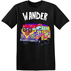 Wander Hippie Van With A Peace Sign Men's T-shirt Camiseta para hombre Small