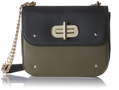Tommy Hilfiger Damen Turn Lock Crossover Colorblock Umhängetasche, Blau (Black/Olive/Dove), 4.5 x 18 x 22 cm (Mini Colorblock)