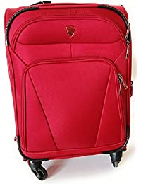 """Nohunt Polyester 20"""" Red Soft Sided Suitcases & Trolley Bags 4 Wheels Travel Suitcase Bag"""