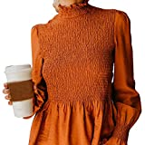 diandianshop Women Stylish Solid Long Sleeve Turtle Neck Ruched T-Shirt Flare Sleeve Blouse Tops