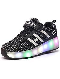 Meurry Unisex Schuhe mit Rollen Kinder Skateboard Schuhe Rollschuh Schuhe LED Light Wheels Sneakers Outdoor-Trainer Für Junge Mädchen