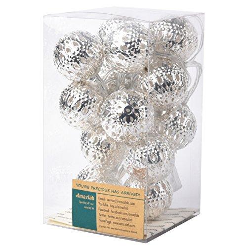 Amazlab T2B, 2,4m/7,5piedi, Metallo Globe Micro LED String luci con illuminazione a LED, funzionamento a batteria, con 14sfere 1,5cm di diametro luce per interni ed esterni, luce bianca calda. Silver