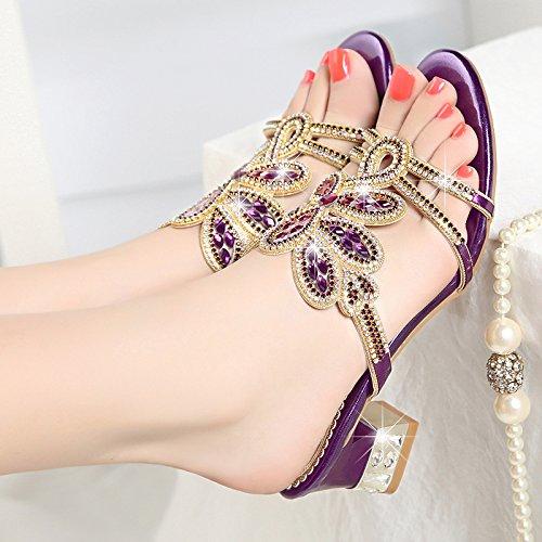 SAEJJ-Frauen Pantoffeln Frauen Sommer Sandalen Echtes Leder Leder Schuhe Frauen Und Schuhe.Violet33 -