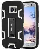 BENTOBEN Case Galaxy S7 Edge, Case S7 Edge, Protettivo 3 Pezzi Stile Ibrido Solido Robusto Morbido Silicone Case Anti-urto Cavalletto Cover per Samsung Galaxy S7 Edge Nero+Grigio