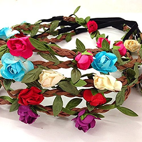 adecco-llc-set-of-5-mix-color-mini-flower-crown-headband-halo-coachella-edc-hippie-flower-headband-g