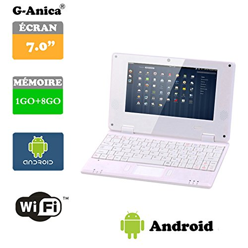 G-Anica 7.0-inch Full-HD Laptop (WIFI, Webcam, Dual-Core1GB RAM, 8GB HDD) with Android 4.4.2 Netbook-White
