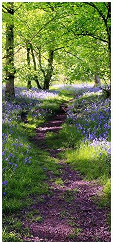 nde Türtapete mit Schutzlaminat, Motiv: Blaues Hasenglöckchen im Wald - Größe: 93 x 205 cm in Premium-Qualität: Abwischbar, Brillante Farben, rückstandsfrei zu entfernen ()