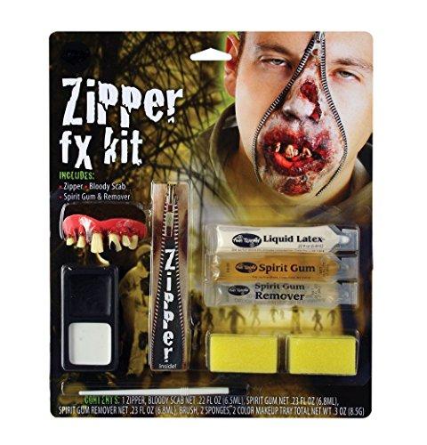 Deluxe Horror Halloween-Zombie FX Reißverschluss für Make-Up Zubehör (Reißverschluss Makeup Kit Halloween)