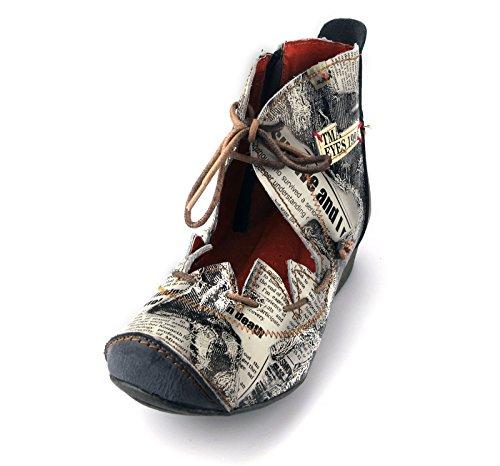 f17130f3a1e0c1 TMA Damen Stiefeletten Boots Stiefel Leder Damenschuhe 8778 Schwarz   Grau  ...