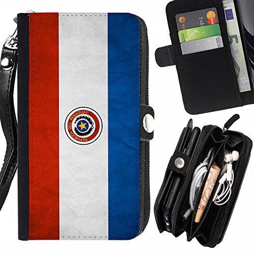 Graphic4You Bandera Paraguaya Paraguay Vintage Grunge Diseño Carcasa Funda Monedero Con Cremallera y Correa de Muñeca Para Samsung Galaxy Grand Prime