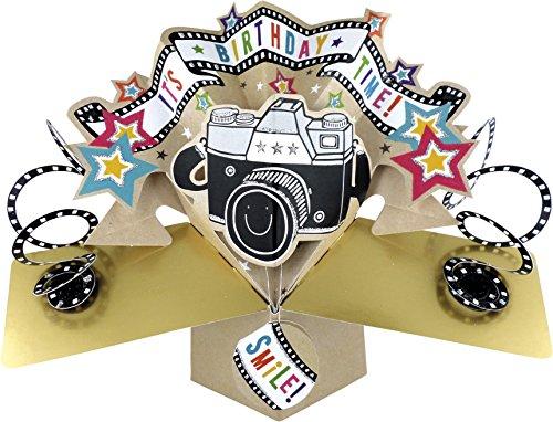 Second Nature - Biglietto per auguri di compleanno, pop-up, motivo: fotocamera (con scritta in lingua inglese)