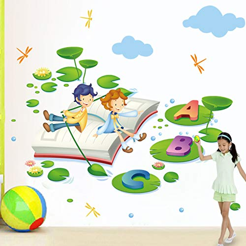 Wandaufkleber Kindergarten English Corner Kinder Englisch Lernen Englischkurs Lesebuch 43 * 60cm