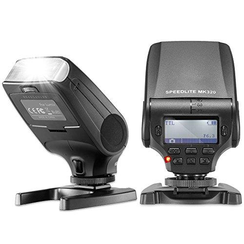 Neewer® MK320 TTL LCD Display LED-Assistive Vorschau Fokus Speedlite für Panasonic Lumix DMC GF7 GM5 GH4 GM1 GX7 G6 G5 GF5 GF6 GH3 GX1 GF3 G3, Olympus OM-D und-M5 II und E-M1-M10-PEN E-E-E-P5 PL7 PL6 PL5 PM2 E-E-E-E-P3 PL3 und-PM1 E-PL2 (Lumix Gf3 Kamera Tasche)