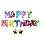 Youn foglio di alluminio palloncino colorato Happy Birthday + 2PCS Golden Star Home Decor