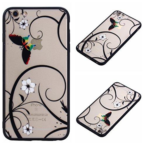 iPhone 6S Hülle, Voguecase Silikon Schutzhülle / Case / Cover / Hülle / TPU Gel Skin für Apple iPhone 6/6S 4.7(Große Pink Blume 01) + Gratis Universal Eingabestift Schmetterling liebt Blumen 07