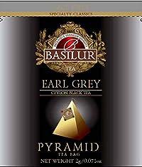 Basilur   Earl Grey Tea   Pure Ceylon Black Tea   Pyramid Tea Bags   Biodegradable Luxury Tea bags   For Hotels, Restaurants, Cafes and Tea lovers   Ultra-Premium Tea Sachets in Box (Pack of 50)