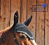 Tysons Breeches Fliegenhaube Strass Glitzer Haube Glitzer 3 Farben 3 Größen Ohrenkappe Ohrnetz Ohrenschutz (Silberfarben, Shetty/Pony)