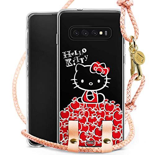 DeinDesign Carry Case kompatibel mit Samsung Galaxy S10 Plus Hülle zum Umhängen Handykette Hello Kitty Merchandise Fanartikel Black