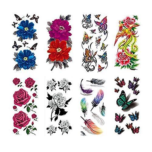 Naisicatar 8 Blatt Stilvolle Blumen-3D Theme wasserdicht temporäre Tätowierung-Aufkleber Große Größen-Arm-Schulter-Rücken Tätowierungen Party Supplies nützlich und schön