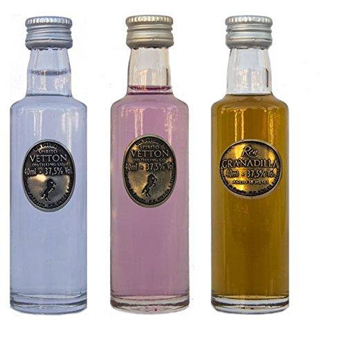 CEREX – Pack Degustación 3 botellas de Ron Añejo Granadilla con maduración 18 meses en barrica, Ginebra Premium Artesanal de 5 destilaciones y Ginebra Premium Artesanal de Cereza