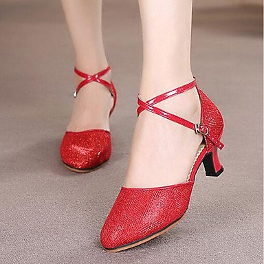 Wuyulunbi@ Donna Paillette sandalo fibbia Outdoor Chunky tacco rosso marrone Argento oro nero US5.5 / EU36 / UK3.5 / CN35