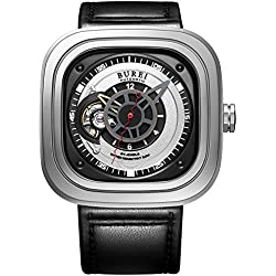 BUREI Men's Automatic Watch with Black Analogue Sapphire Crystal Glass and Leather Strap