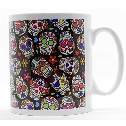 Taza de café de cerámica con diseño de calaveras muertas
