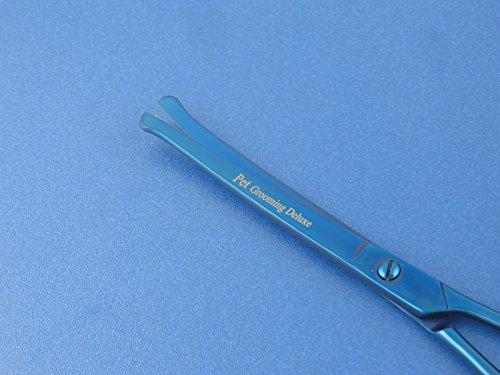 """Fellscheren-Set Hunde-Haarschere Gebogen und Gerade 16,5 cm und Pfotschere 11,2 cm mit Mikroverzahnung """"BLUE TITANIUM"""" - 4"""