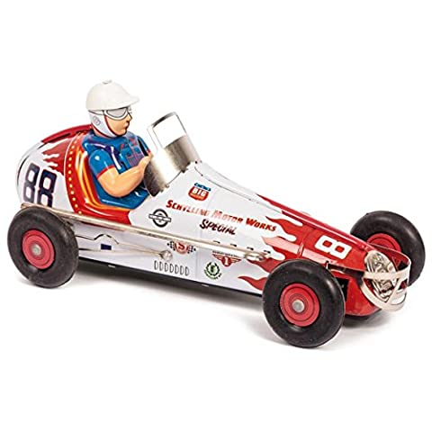 Sprint Race Car Tin Collectible With All-metal Features & Clockwork Action Toy