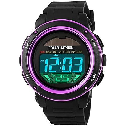downj da uomo energia solare orologio digitale multifunzione uomini calendario allarme cronometro sport orologio impermeabile, Viola