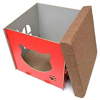 Eyepower Dôme pour Chat 41x41x41cm Taille Moyenne Maison M INCL griffoir boîte carrée avec Couvercle rembourré pour s'asseoir Repose-Pied Rouge