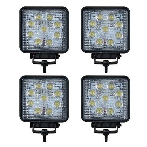 4 X LED 27W Offroad Flutlicht Reflektor Scheinwerfer Arbeitslicht SUV, UTV, ATV Arbeitsscheinwerfer Zusatzscheinwerfer Offroad Scheinwerfer 12V 24V Rückfahrscheinwerfer [Energieklasse A+] (4 X Atv 4)