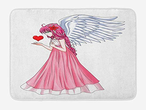 OQUYCZ Anime Bath Mat, Fairytale Character Angel in a Pink Dress Holding a Heart Romantic Valentines Day, Plush Bathroom Decor Mat with Non Slip Backing, 23.6 W X 15.7 W Inches, Pink Red White Anchors Away Dress