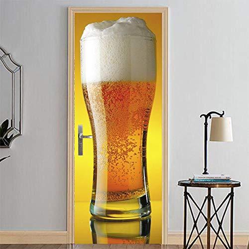 Aufkleber Sprudelndes Bier 77X200CM DIY Aufkleber europäisch Wandbild selbstklebend dekorativ visuell Wandaufkleber Festival Kunst Tapete Landschaft ()