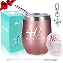 40th Birthday Gifts for Women, Wine Tumbler with Funny Saying | Not A Day Over Fabulous,12 oz Insulated Stemless Wine Glasses with Lid and Straw, Funny Wine Gift for Her