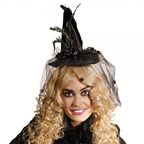 Minihut hut mini mütze feder Hexe Witch Vampir schwarz halloween horror party