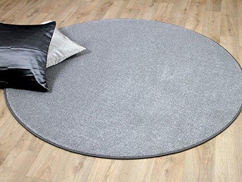 Preisvergleich Produktbild Hochflor Velours Teppich Belini Melange Silber Grau Rund in 7 Größen